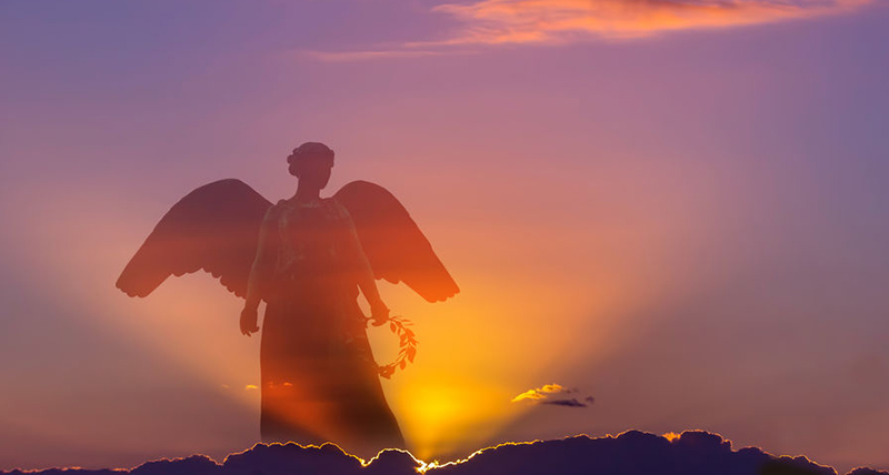 Beautiful angel in heaven with divine rays of light - Jillian Frazin - Blessings of Jasmine